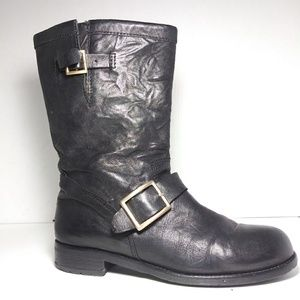 Jimmy Choo   8.5/38.5   Youth Black Leather Boots
